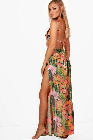 Boohoo Womens Tropicana Cut Out Maxi Beach Dress - - S