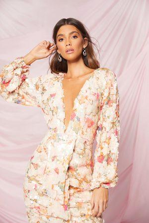 Boohoo Womens Occasion Sequin Puff Sleeve Midi Dress - - 6