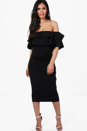 Boohoo Womens Maternity Ruffle Off The Shoulder Midi Dress - - 4