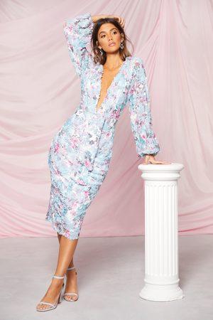 Boohoo Womens Occasion Sequin Puff Sleeve Midi Dress - - 4