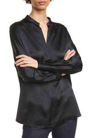 Vince Women's Band Collar Silk Blouse