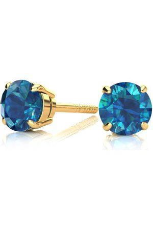 Hansa Blue Diamond Stud Earrings 3/4 Carat Single Blue Diamond
