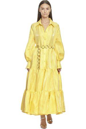 Taller Marmo Linen Blend Maxi Shirt Dress