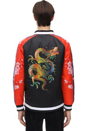 MINIMAL Color Block Dragon Print Bomber Jacket