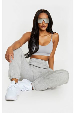 PRETTYLITTLETHING Shape Grey High Waist Pocket Detail Joggers