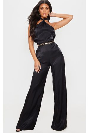 PRETTYLITTLETHING Women Halterneck Dresses - Knot Halterneck Shimmer Jumpsuit