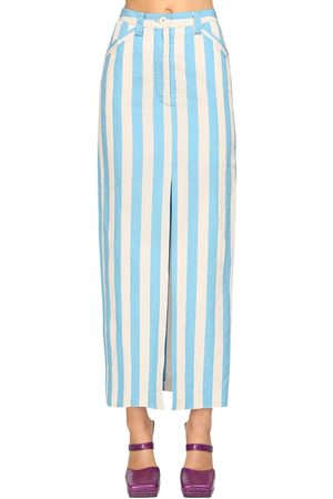 SUNNEI Women Pencil Skirts - Striped Cotton Blend Midi Pencil Skirt