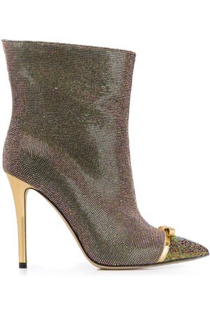 MARCO DE VINCENZO Women Boots - Iridescent studded 100mm leather boots