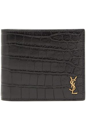 Saint Laurent Ysl Monogram Crocodile-effect Leather Wallet - Mens