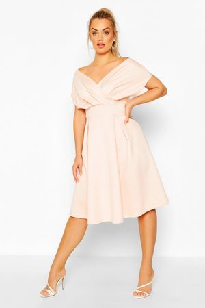 Boohoo Womens Plus Off The Shoulder Wrap Midi Dress - - 12