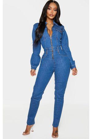 PRETTYLITTLETHING Shape Mid Wash Denim Zip Front Jumpsuit