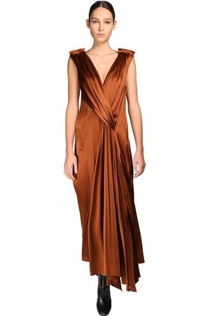 PETAR PETROV Draped Silk Blend Long Dress