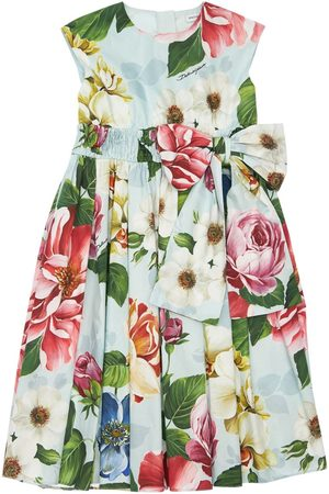 Dolce & Gabbana Flower Print Cotton Poplin Dress W/ Bow