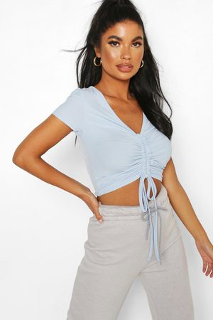 Boohoo Womens Petite Ribbed Ruched Detail Top - - 2
