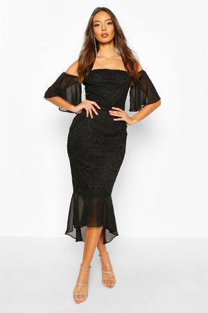 Boohoo Women Bodycon Dresses - Womens Mesh Frill Sleeve Lace Bodycon Midi Dress - - 4