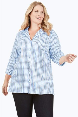 Foxcroft Brea Plus Crinkle Plaid Tunic
