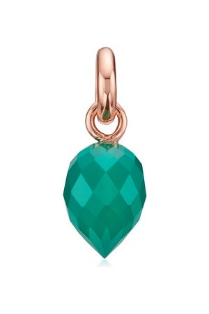 Monica Vinader Women Necklaces - Rose Gold Fiji Bud Gemstone Pendant Charm Green Onyx
