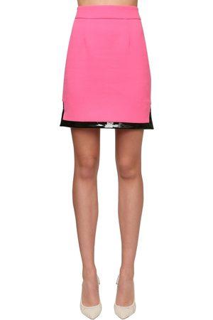 Rowen Rose Wool Crepe Mini Skirt W/ Vinyl