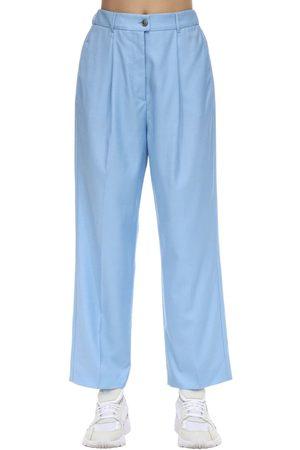 Agnona Women Wide Leg Pants - High Waist Wide Leg Wool Pants