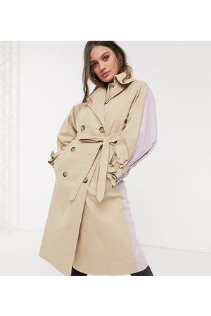 ASOS Trench Coats - ASOS DESIGN Petite color block tie sleeve trench coat in stone