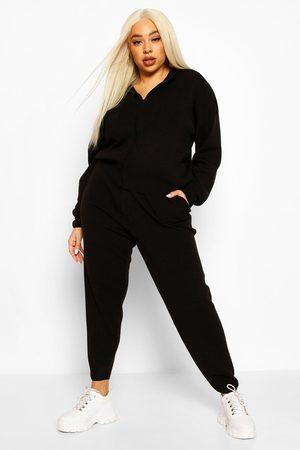 Boohoo Womens Plus Zip Through Knitted Loungewear Set - - 12-14