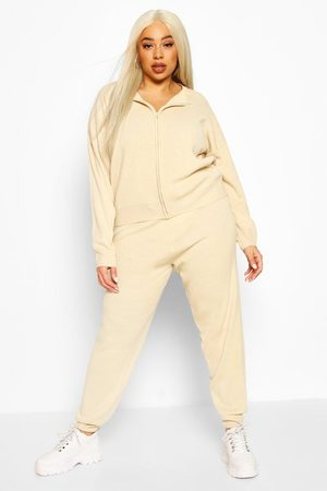 Boohoo Women Sweats - Womens Plus Zip Through Knitted Loungewear Set - - 12-14