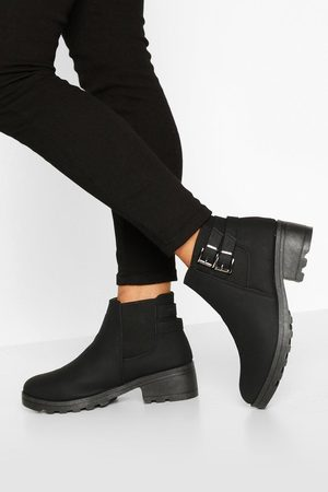 Boohoo Womens Wide Fit Buckle Detail Block Heel Chelsea Boots - - 5