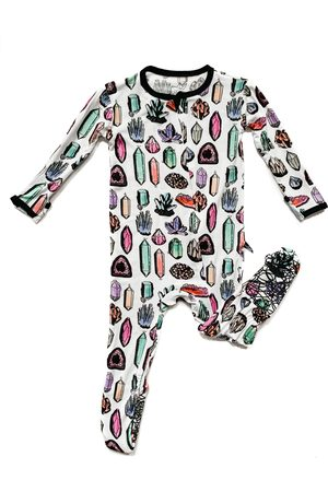 Peregrine Infant Girl's Crystals Fitted One-Piece Pajamas