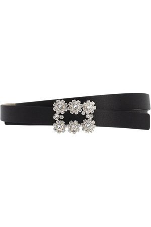 Roger Vivier 1.5cm Crystal Buckle Satin Belt