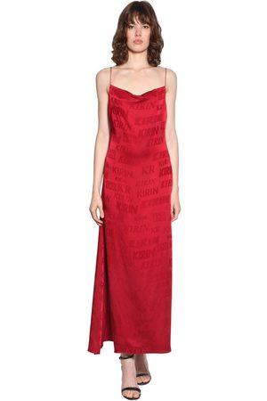 Kirin Logo Satin Jacquard Midi Dress