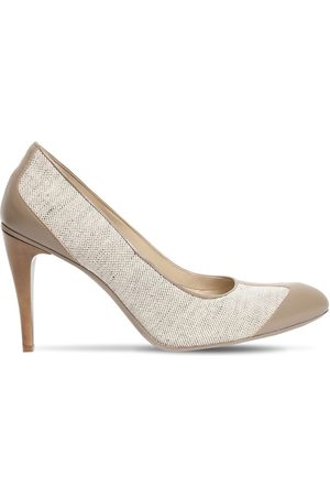 Max Mara 100mm Becky Linen & Leather Pumps