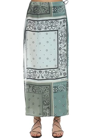 AMIRI Bandana Print Satin Wrap Skirt