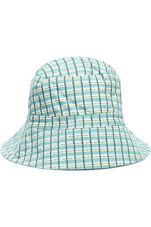 Caramel Wembley checked cotton bucket hat