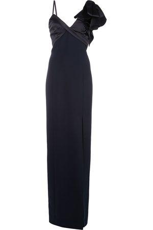 Marchesa Notte Asymmetric bow shoulder gown