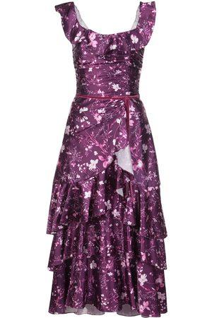Marchesa Notte Women Printed Dresses - Floral ruffled long dress