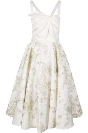 Marchesa Notte Embroidered flared midi dress