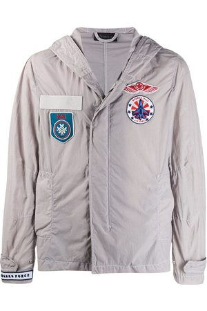 Mr & Mrs Italy Men Jackets - Embroidered patch cotton blend military jacket - Grey