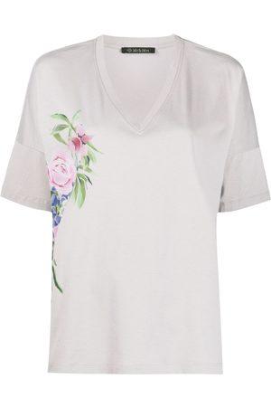 Mr & Mrs Italy Floral v-neck T-shirt - Grey
