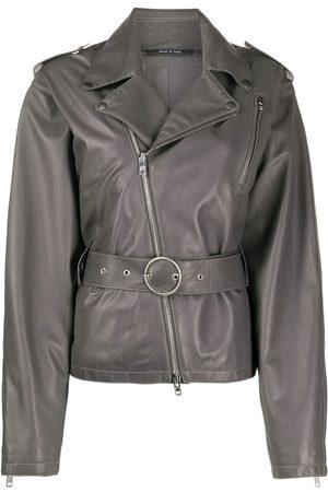 Maison Margiela Women Leather Jackets - Belted leather jacket - Grey