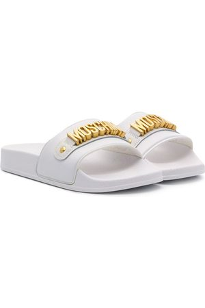 Moschino Logo detailed flat slides