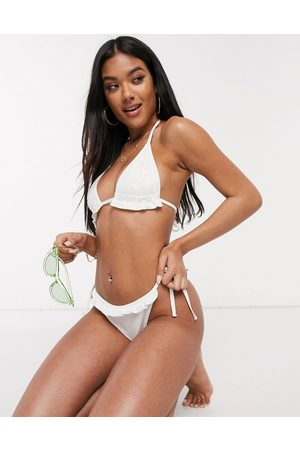 ASOS Mix and match broderie tie side bikini bottom in