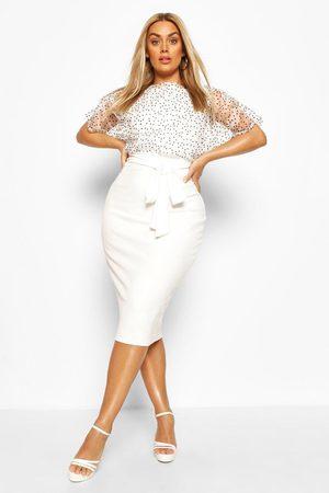 Boohoo Womens Plus Heart Organza Blouson Midi Dress - - 12