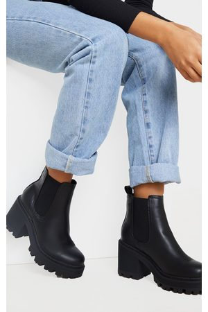 PRETTYLITTLETHING Women Heeled Boots - Wide Fit Chunky Heeled Chelsea Boot