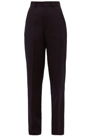 Raey High-rise Wool Tailored Trousers - Womens - Navy
