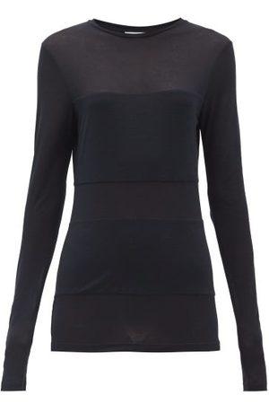 Raey Women Long Sleeve - Double-panel Long-sleeved Sheer T-shirt - Womens - Navy