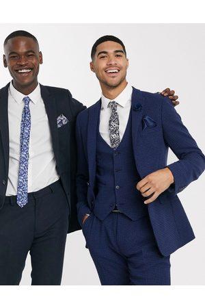 ASOS Wedding super skinny suit suit vest in wool blend micro houndstooth