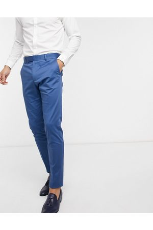 ASOS Wedding skinny suit pants in blue stretch cotton-Blues