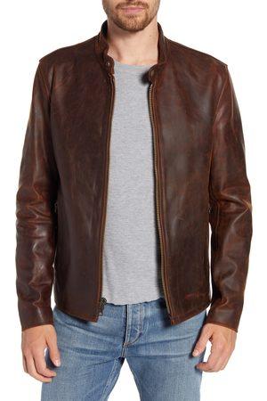 Schott NYC Men's Cafe Racer Lightweight Oiled Cowhide Leather Jacket