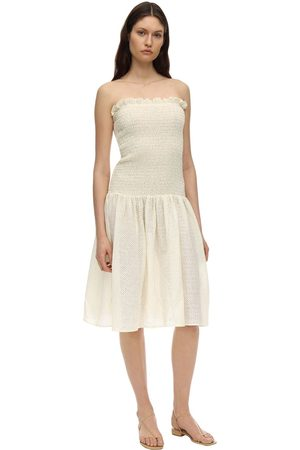 Marysia Amorgos Strapless Smocked Dress