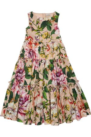 Dolce & Gabbana Flower Print Cotton Poplin Dress